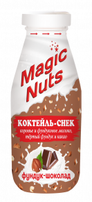 «Magic Nuts» - молочно-ореховый коктейль-снек НА МОЛОКЕ,  фундук – шоколад, 340 г стекло бутылка, 6 шт.