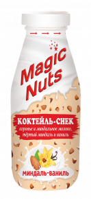 «Magic Nuts» - молочно-ореховый коктейль-снек НА МОЛОКЕ,  миндаль – ваниль, 340 г стекло бутылка, 6 шт.